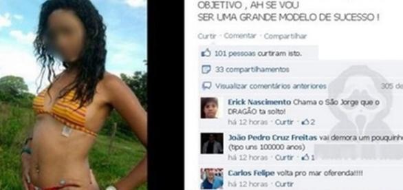 Jovem sendo humilhada no Facebook