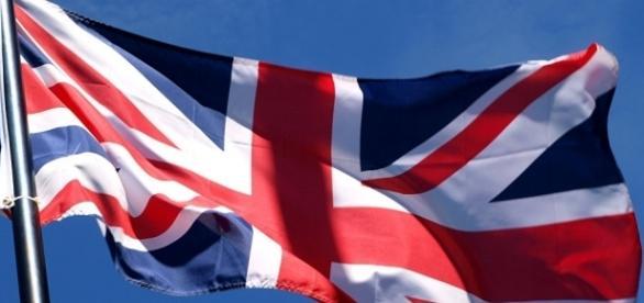 A imponente bandeira do Reino Unido.