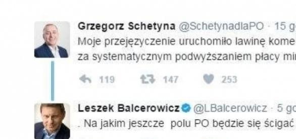 Grzegorz Schetyna i Leszek Balcerowicz (źródło: Twitter).