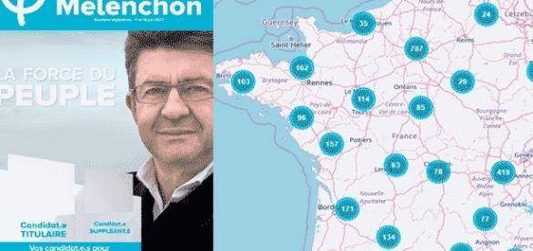 L'une des affiches officielles pour les législatives et la carte des groupes France insoumise