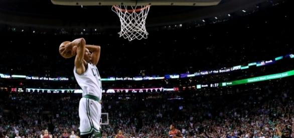 Avery Bradley goes for the slamdunk at The Garden. via nba.com