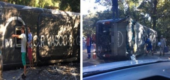 Ônibus do Vasco tomba - Imagem/Google