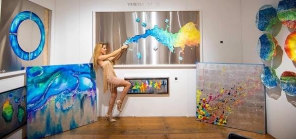 Vanessa's Velib in her studio surrounded by her creations. / Photo via Vanessa Velib, used with permission.