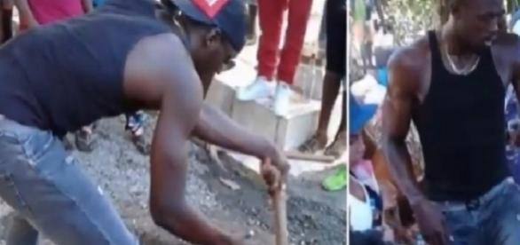 Atleta Usain Bolt ajuda a cavar cova do amigo