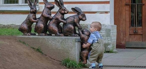 Fotografia de menino ajudando um coelho mostra a pureza das crianças
