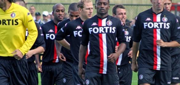 i giocatori della squadra del Feyenoord, campione della Eredivisie olandese