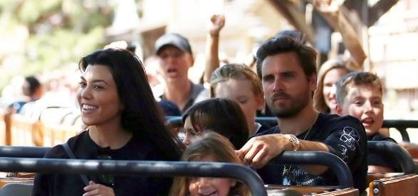 Kourtney Kardashian spent her 38th birthday with her three children and baby daddy, Scott Disick, in Disneyland. (via FameFlynet Pictures)