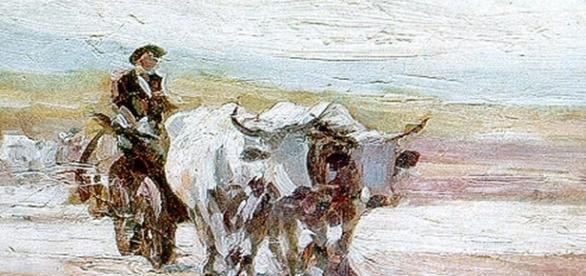 """Lucrarea """"Car cu boi"""" a pictorului român"""