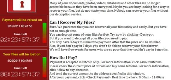 Malware WannaCry, após ativado, solicitou pagamento em bitcoins para os usuários, que tiveram seus dados roubados