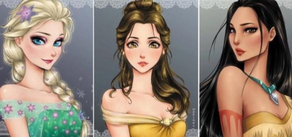 Princesas Disney em versão anime. Fotos: Reprodução/Twitter.