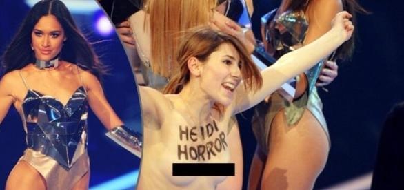 Femen-Aktivistinnen stürmten das Finale bei GNTM 2013; Siegerin Lovelyn Enebechi (li.) / Foto: web.de