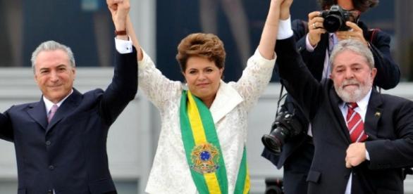 Michel Temer, atual presidente, Dilma Rousseff, antecessora, e Lula, Presidente do Brasil, entre 2003 e 2010