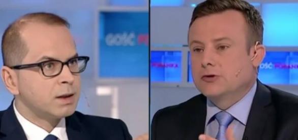 Poseł Michał Szczerba i redaktor Adrian Klarenbach (źródło: youtube.com)