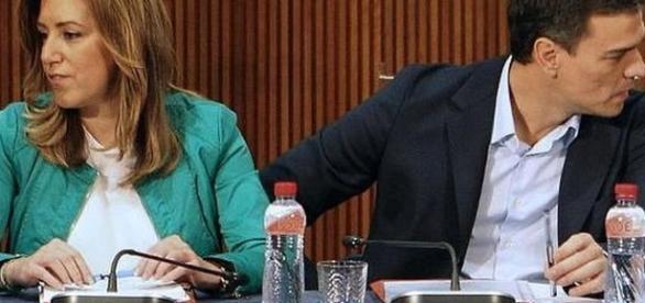 Imagen de archivo de los principales candidatos. Susana Díaz y Pedro Sánchez.