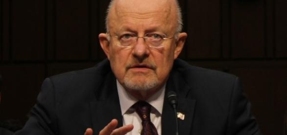 Former Director of National Intelligence James Clapper in 2012 hearing. / Photo by Medill DC via Flickr   CC BY 2.0