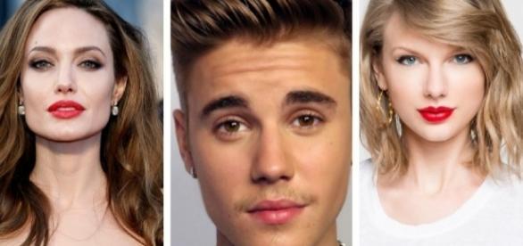 Angelina Jolie, Justin Bieber e Taylor Swift
