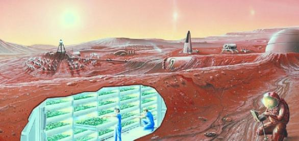 Concept of Mars colony (courtesy of NASA)