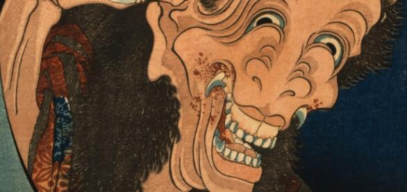 The Laughing demoness, a sharp-fanged image of a horned woman / Photo via Library of Congress