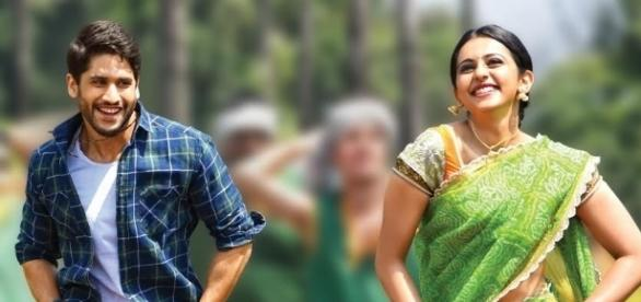 A still of Naga Chaitanya and Rakul Preet Singh from 'Rarandoi Veduka Chuddam'