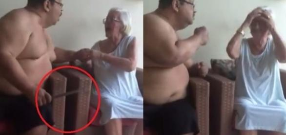 Imagens de filho ameaçando a mãe causam revolta (Foto: Reprodução/Vídeo)