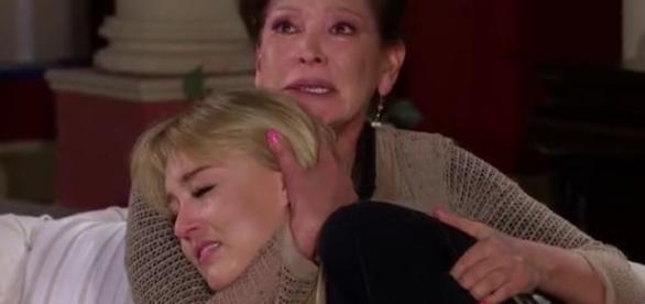 Montserrat chora a perda do marido nos braços de sua sogra