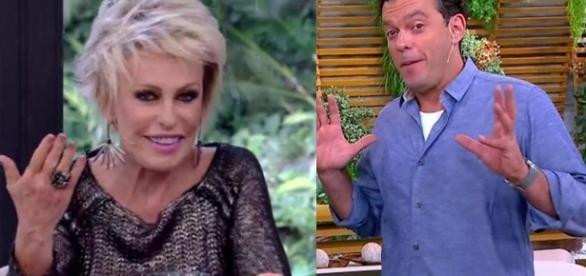 A apresentadora Ana Maria Braga cumpriu com a promessa e enviou um prato de doce para os apresentadores (Fotos: Rede Globo)