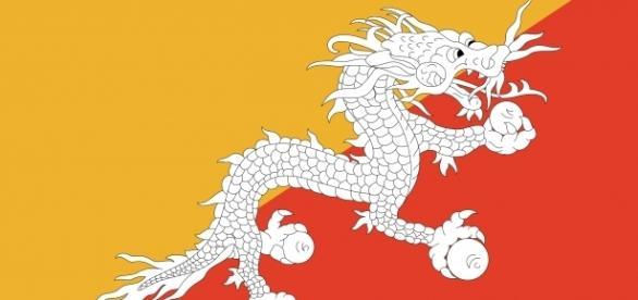 Bandeira do Butão, o país mais feliz do mundo
