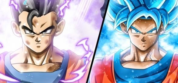 FanArt sobre Gohan Mistico vs Goku Super Saiyajin Dios Azul