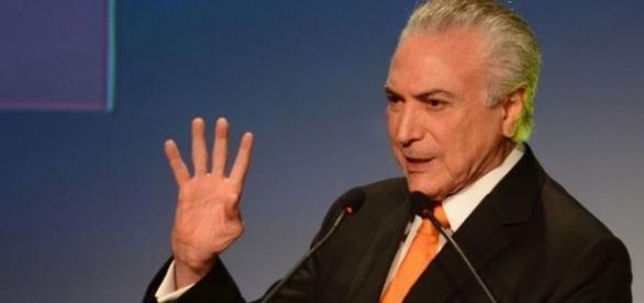 Michel Temer discursa durante evento para investidores realizado em São Paulo.