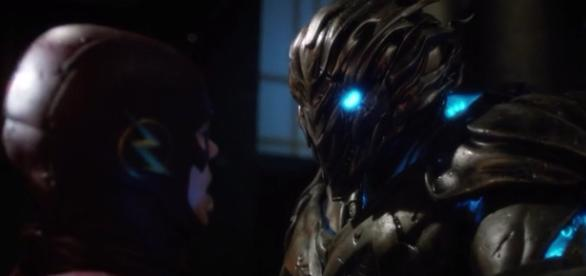 The Flash and Savitar, mask to mask (via YouTube - DragonBallContent)
