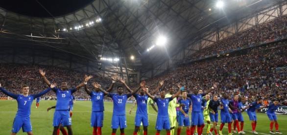 Les joueurs de l'Équipe de France au Vélodrome