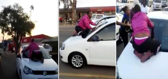 Mulher pula em frente do carro de seu marido para tentar salvar seu casamento.