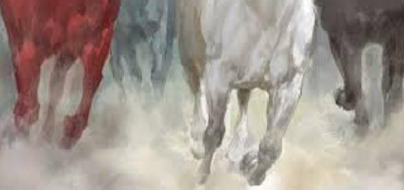 Os 4 cavaleiros do Apocalipse cavalgando, entre eles o cavalo descorado das doenças e morte