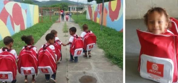 Mochila gigante foi distribuída para crianças na Bahia (Foto: Reprodução/Facebook)