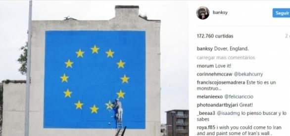 Mural pintado em Dover, na Inglaterra, foi divulgado no dia 08/05