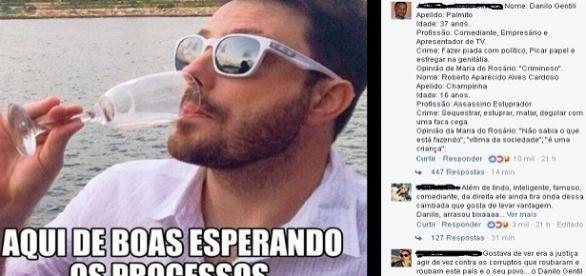 """""""Aqui de boas esperando os processos"""", postou Danilo"""