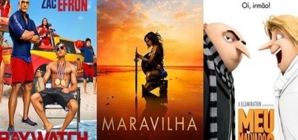 'Baywatch', 'Mulher-Maravilha' e 'Meu Malvado Favorito 3' (Foto: Montagem/ Reprodução)