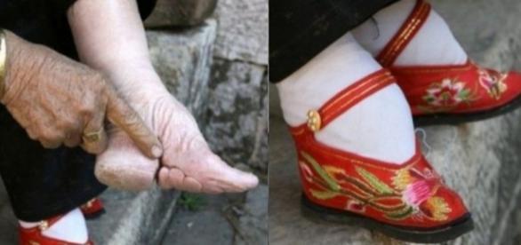 Durante os séculos 10 e 11, na China, as jovens usavam sapatos que impediam o crescimento dos pés e forçavam uma dolorosa curvatura nos dedos
