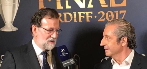 Mariano Rajoy entrevistado en la final de la Champions en Cardiff