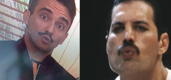 André Marques aparece com bigode estranho na TV