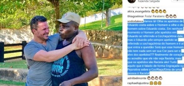 Eduardo Costa reponde a um internauta após ser acusado de racismo (Foto - Instagram)