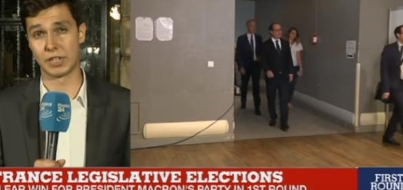 """France Legislative Elections: """"Results come in, hugely disappointing for the Socialist Party/ screencap France 24 English via YouTube"""