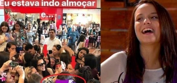 Emilly sugere que está sendo recebida por multidão, mas na verdade, trata-se de fãs de Larissa Manoela.