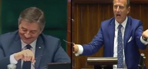 Marszałek Kuchciński oraz poseł Ajchler (źródło: youtube.com)