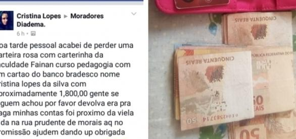 R$ 1.800 foram devolvidos pela mulher que achou a carteira