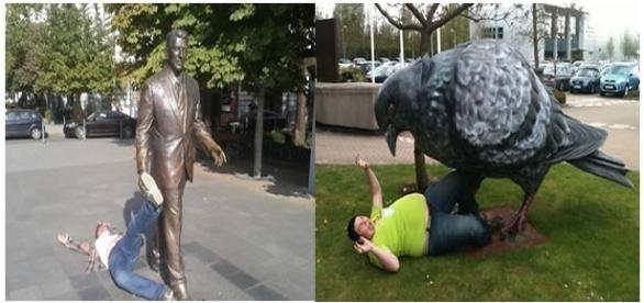 Momentos inusitados e criativos com estátuas