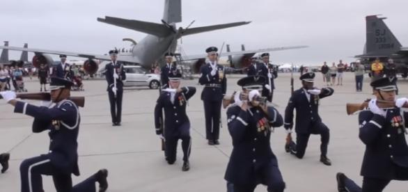 USAF Honor Guards Drill Team/ screencap from Joint Forces Channel via Youtube