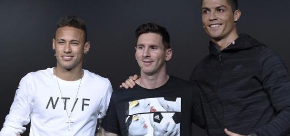 Neymar, Cristiano Ronaldo y Leo Messi