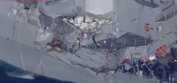 Aerial Footage Of USS Fitzgerald After Collision / screencap from iBankCoin.com via youtube
