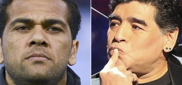 Daniel Alves criticó al argentino Diego Maradona